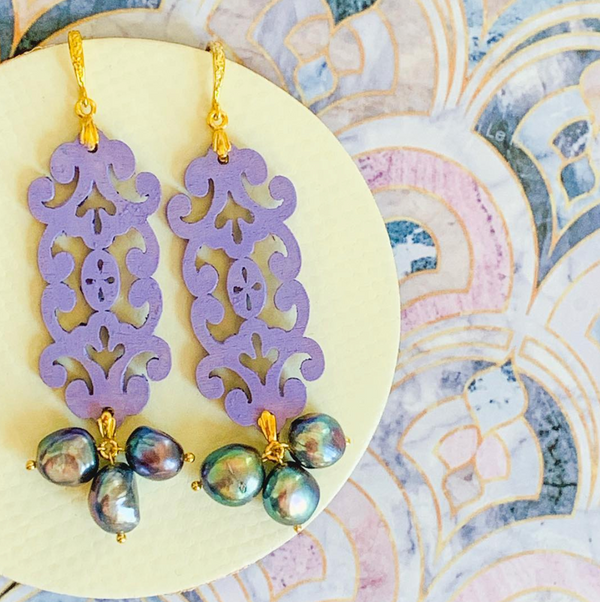 Halcyon & Hadley Imperial Ultra Violet Statement Earrings with Peacock Pearls - Women's Earrings - Women's Jewelry - Unique Earrings - Statement Earrings