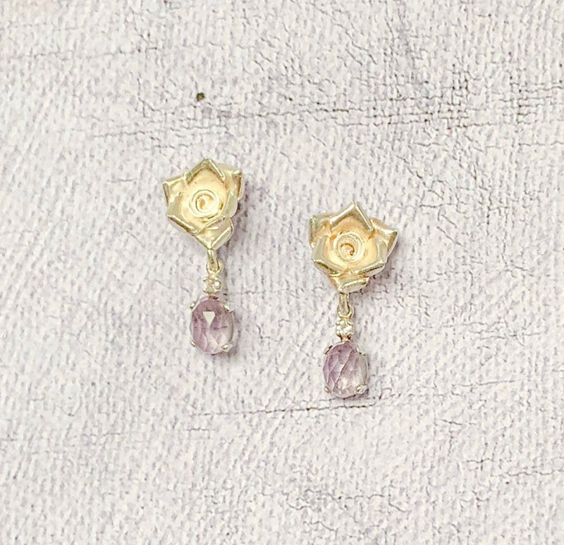 Halcyon & Hadley Amethyst and Sterling Silver English Rose Earrings - Women's Earrings - Women's Jewelry - Unique Earrings - Statement Earrings