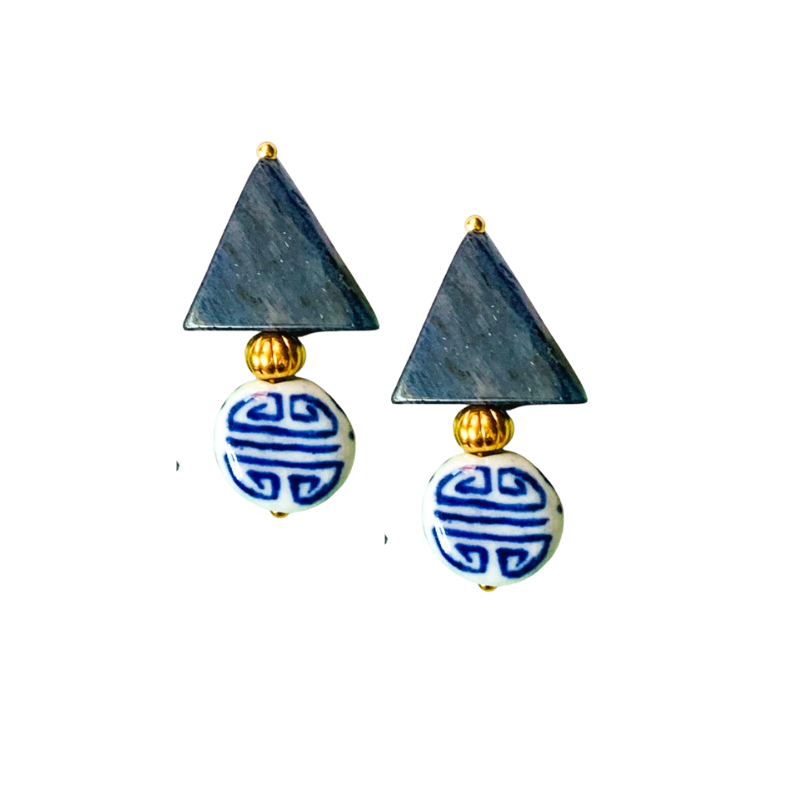 Triple Threat Statement Stud Earrings with Blue Aventurine and Chinoiserie Porcelain