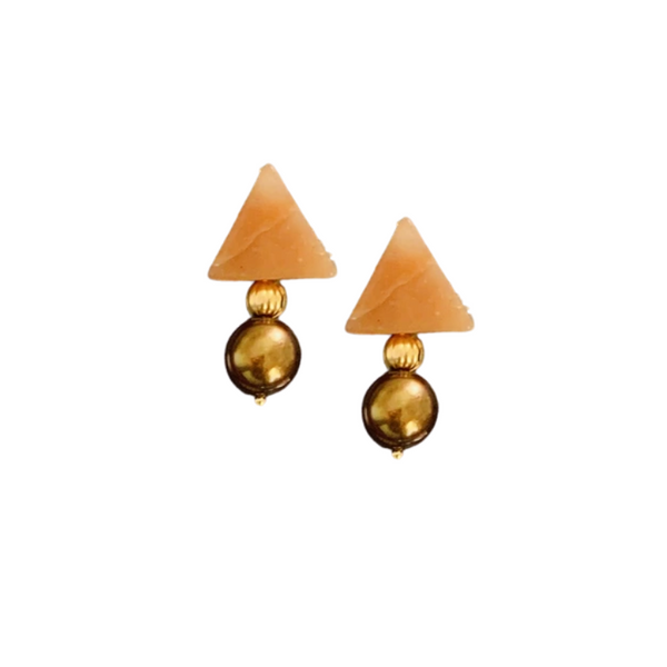 Triple Threat Statement Stud with Red Aventurine and Bronze Coffee Baroque Pearls