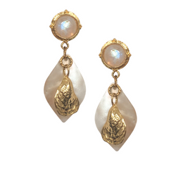 Halcyon & Hadley Duxbury Beach Statement Earrings with Moonstones, Mother of Pearl and Gold Oysters - Women's Earrings - Women's Jewelry - Unique Earrings - Statement Earrings