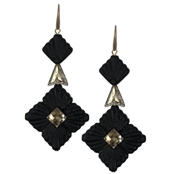 Halcyon & Hadley Swarovski Midnight Statement Earrings in Matte Black and Gold - Women's Earrings - Women's Jewelry - Unique Earrings - Statement Earrings