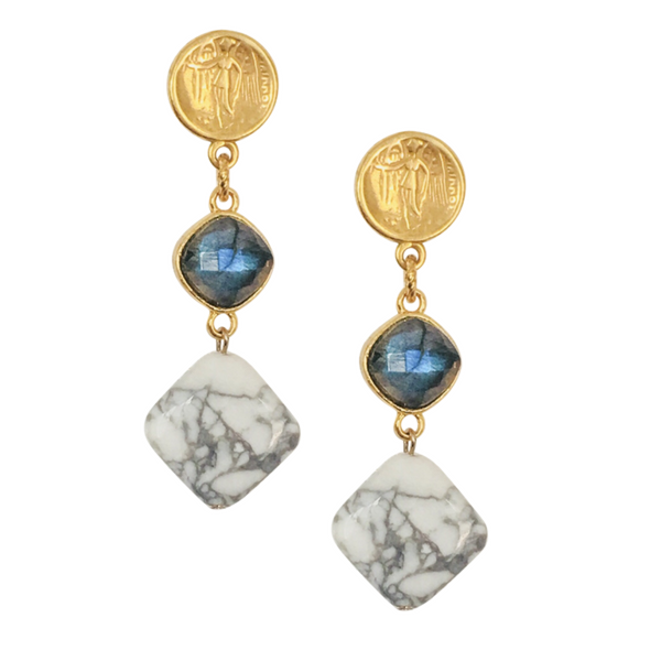 Halcyon & Hadley Gold, Labradorite & Howlite Guvano Goddess Statement Earrings - Women's Earrings - Women's Jewelry - Unique Earrings - Statement Earrings