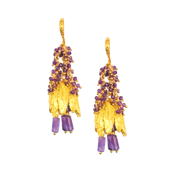 Halcyon & Hadley Viridiflora Tulip Statement Earrings in Amethyst and Gold - Women's Earrings - Women's Jewelry - Unique Earrings - Statement Earrings