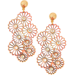 Halcyon & Hadley Coral Daises Statement Earrings - Women's Earrings - Women's Jewelry - Unique Earrings - Statement Earrings