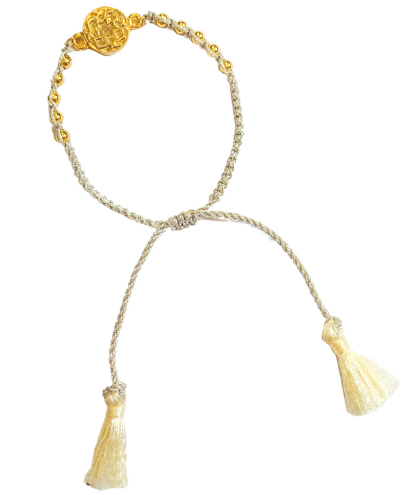 Halcyon & Hadley Bali Macrame Bracelet in Ivory, Gold, and Silver Fringe - Women's Earrings - Women's Jewelry - Unique Earrings - Statement Earrings