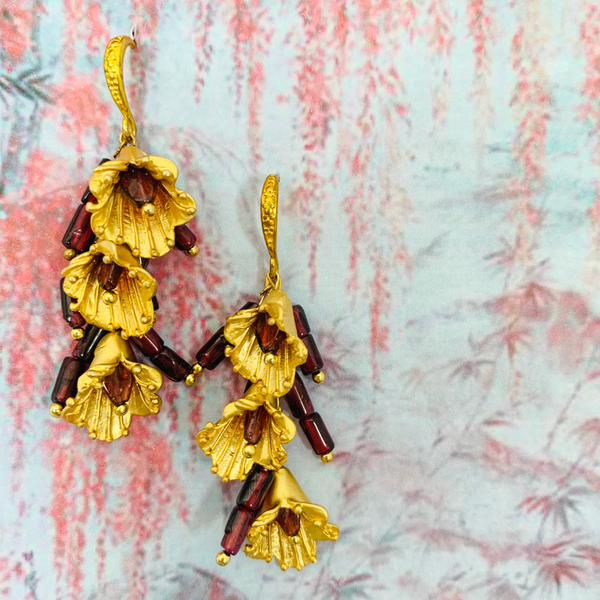 Garnet Gold Lilly Cascade Earrings