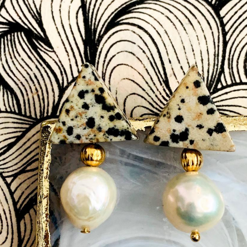 Triple Threat Statement Studs in Dalmatian Jasper and Baroque Pearls