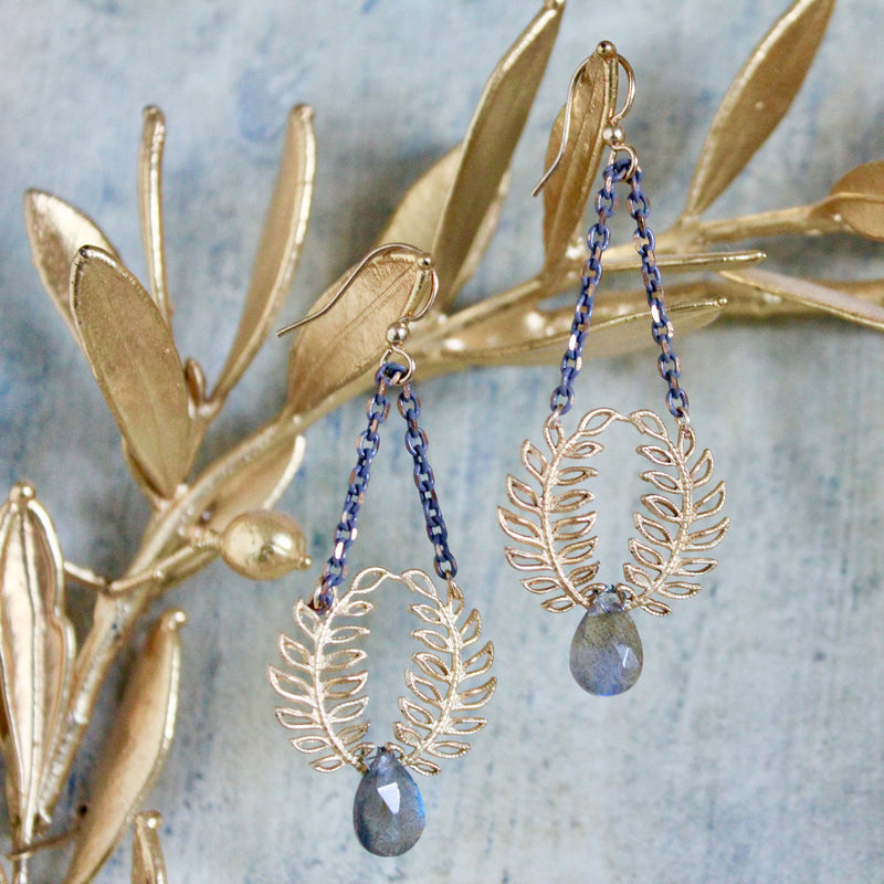 Halcyon & Hadley Labradorite Woodland Drop Earrings - Women's Earrings - Women's Jewelry - Unique Earrings - Statement Earrings