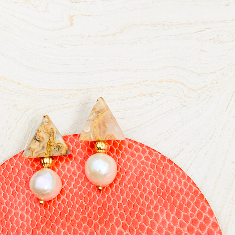 Halcyon & Hadley Triple Threat Statement Studs in Crazy Lace Agate and Ivory Baroque Pearls - Women's Earrings - Women's Jewelry - Unique Earrings - Statement Earrings