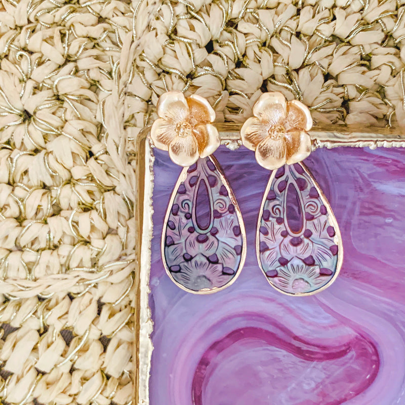 Halcyon & Hadley Chinois Blossom Earrings with Carved Mother of Pearl - Women's Earrings - Women's Jewelry - Unique Earrings - Statement Earrings
