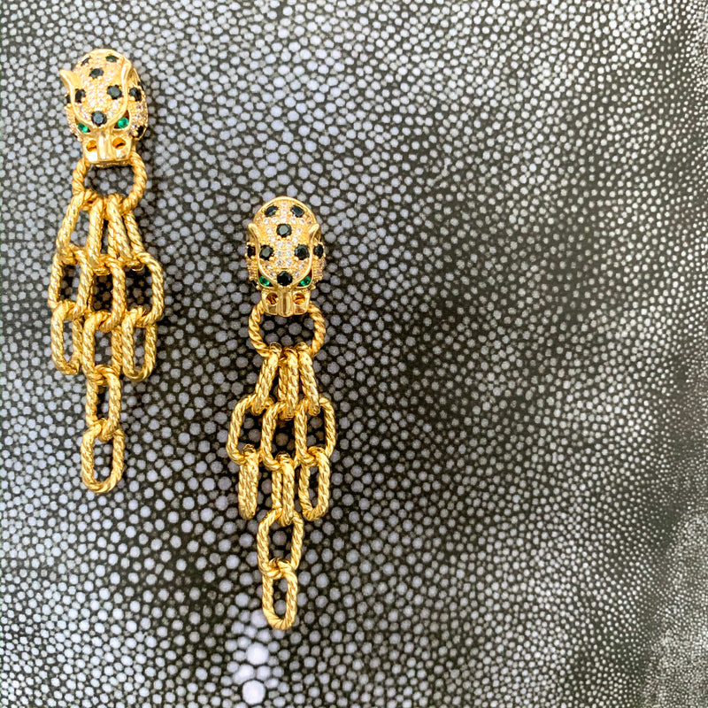 Halcyon & Hadley Cheetah Statement Earrings with Black and Emerald Pave - Women's Earrings - Women's Jewelry - Unique Earrings - Statement Earrings