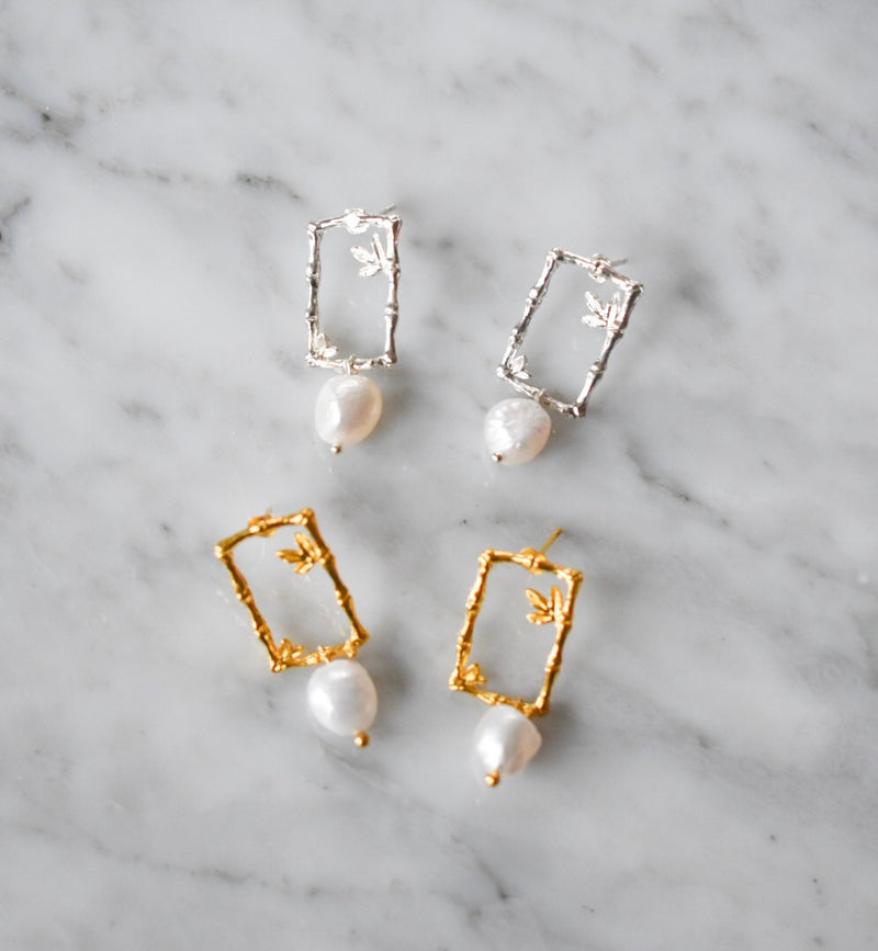 Halcyon & Hadley Baby Bamboo and Pearl Statement Studs - Women's Earrings - Women's Jewelry - Unique Earrings - Statement Earrings