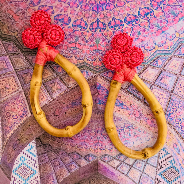Halcyon & Hadley Bamboo and Silk Statement Earrings in Flamingo Pink - Women's Earrings - Women's Jewelry - Unique Earrings - Statement Earrings