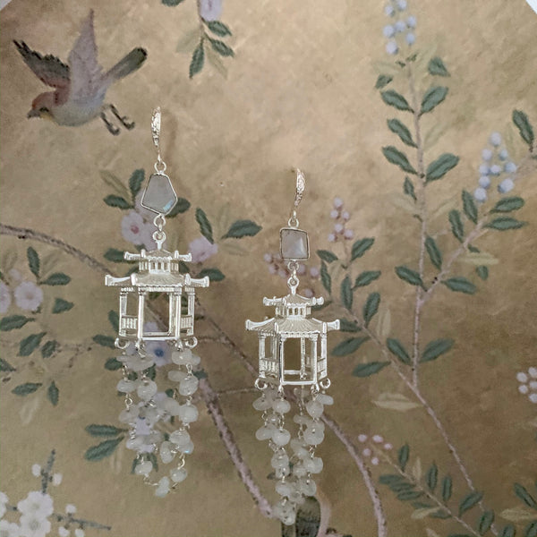 Halcyon & Hadley Chinois Chalet Statement Earrings in Silver with Rainbow Moonstones - Women's Earrings - Women's Jewelry - Unique Earrings - Statement Earrings