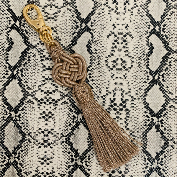 Halcyon & Hadley Moroccan Silk Tassel Bag Charm in Bronze - Women's Earrings - Women's Jewelry - Unique Earrings - Statement Earrings