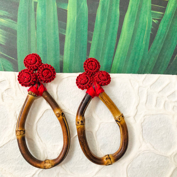 Halcyon & Hadley Bamboo and Silk Statement Earrings in Boston University Red - Women's Earrings - Women's Jewelry - Unique Earrings - Statement Earrings
