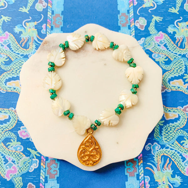 Halcyon & Hadley Monstera Bracelet with Carved Mother of Pearl and African Turquoise - Women's Earrings - Women's Jewelry - Unique Earrings - Statement Earrings