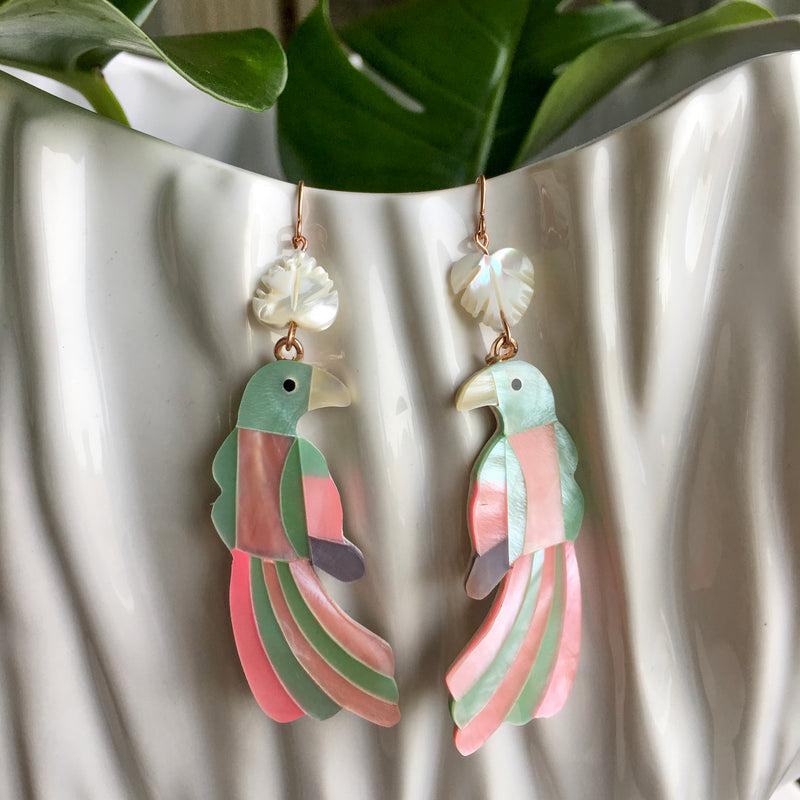 Halcyon & Hadley Toucan Statement Earrings in Pink and Green Mother of Pearl Shell Mosaic - Women's Earrings - Women's Jewelry - Unique Earrings - Statement Earrings