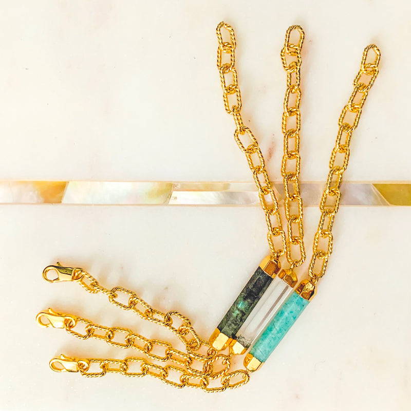 Halcyon & Hadley Link Love Bracelet in Gold and Amazonite - Women's Earrings - Women's Jewelry - Unique Earrings - Statement Earrings