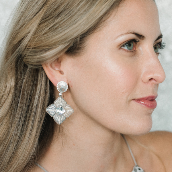 Halcyon & Hadley Snow Queen Statement Earrings with Swarovski Crystals - Women's Earrings - Women's Jewelry - Unique Earrings - Statement Earrings