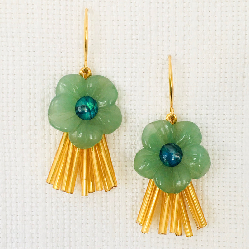 Halcyon & Hadley Aloha Drop Earrings in Gold with Aventurine and Abalone - Women's Earrings - Women's Jewelry - Unique Earrings - Statement Earrings