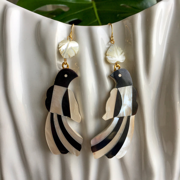 Halcyon & Hadley Toucan Statement Earrings in Black and Ivory Mother of Pearl Shell Mosaic - Women's Earrings - Women's Jewelry - Unique Earrings - Statement Earrings