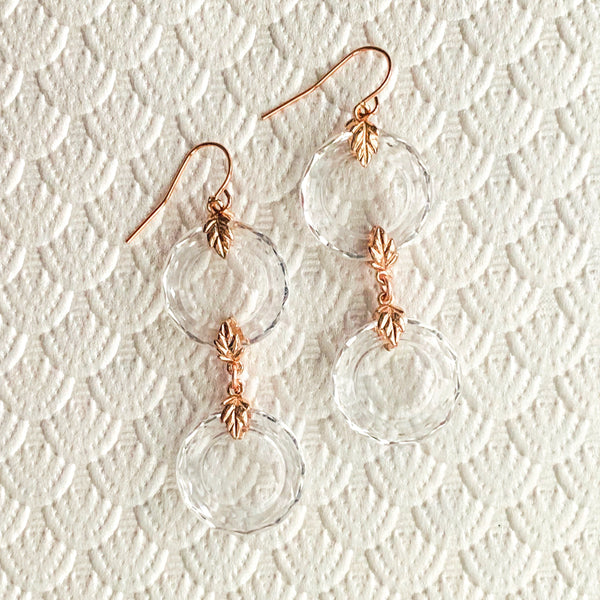 Halcyon & Hadley Hollywood Regency Earrings in Clear and Rose Gold - Women's Earrings - Women's Jewelry - Unique Earrings - Statement Earrings