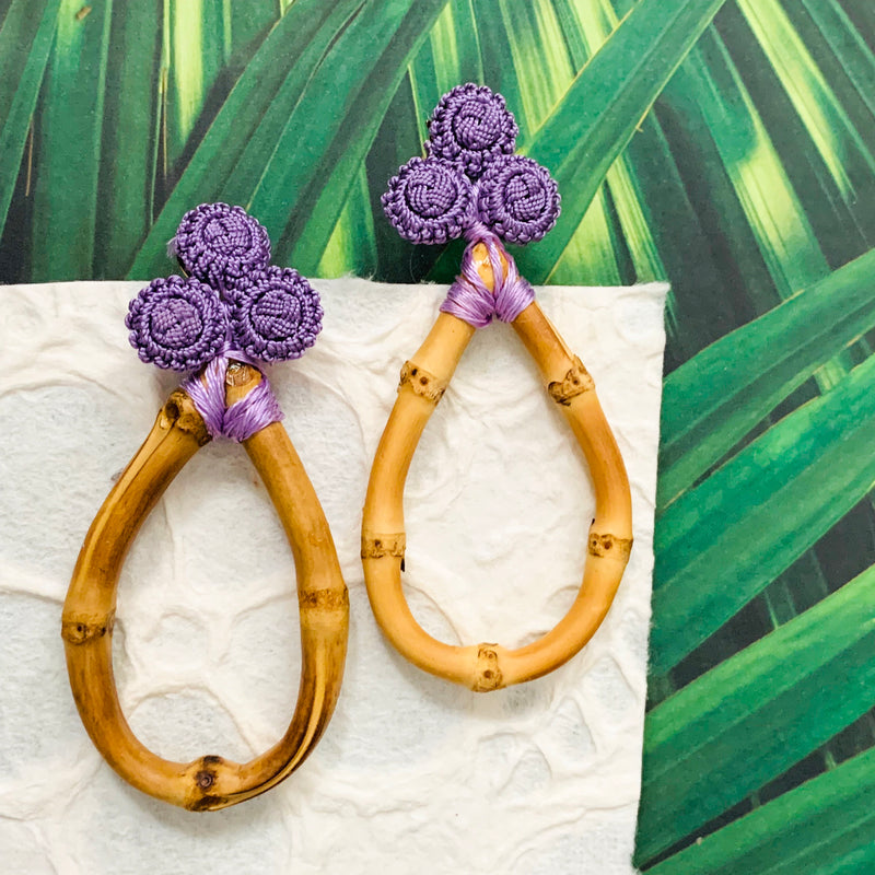 Halcyon & Hadley Bamboo and Silk Statement Earrings in Ultra Violet - Women's Earrings - Women's Jewelry - Unique Earrings - Statement Earrings