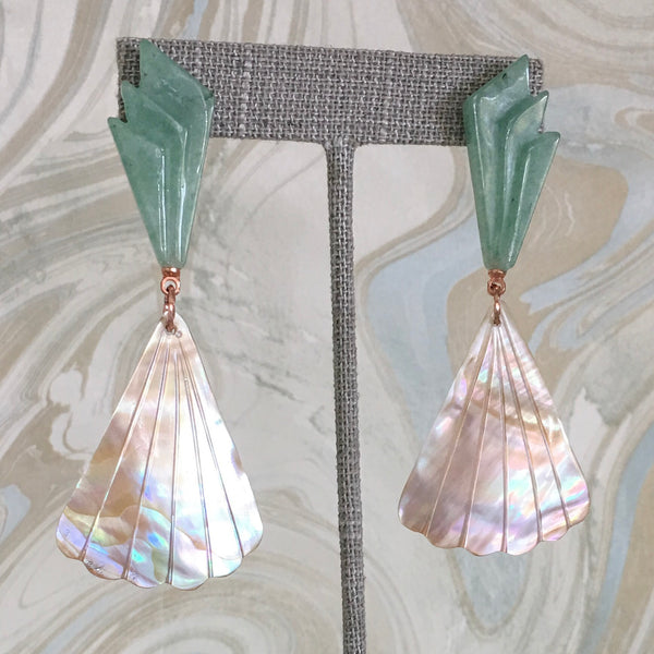 Halcyon & Hadley Aventurine and Shell Nice la Belle Statement Earrings - Women's Earrings - Women's Jewelry - Unique Earrings - Statement Earrings