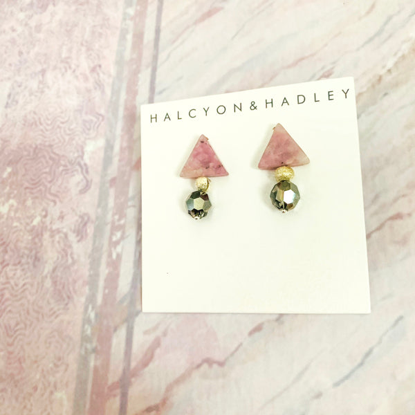 Halcyon & Hadley Triple Threat Statement Stud with Lavender Kunzite and Metallic Silver Swarovski Crystals - Women's Earrings - Women's Jewelry - Unique Earrings - Statement Earrings