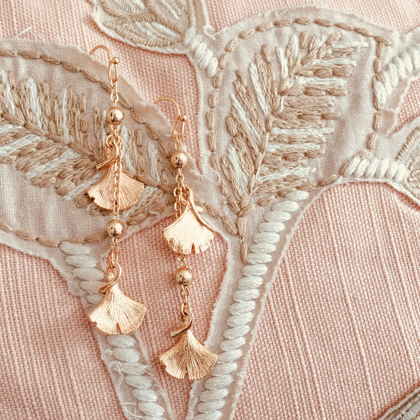 Halcyon & Hadley Ginkgo Glam Earrings in Champagne Gold - Women's Earrings - Women's Jewelry - Unique Earrings - Statement Earrings