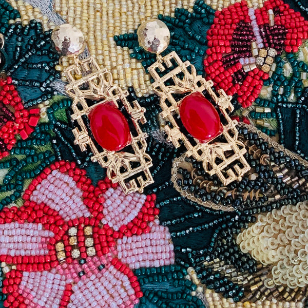Halcyon & Hadley Bamboo Boo Statement Earrings with Crimson Jade - Women's Earrings - Women's Jewelry - Unique Earrings - Statement Earrings