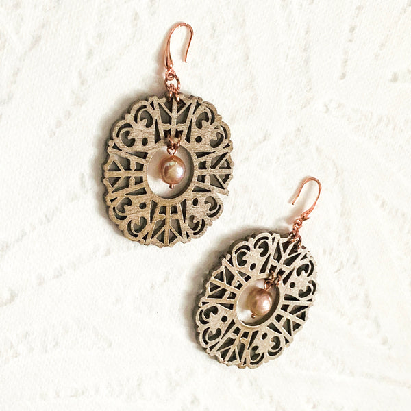 Halcyon & Hadley Imperial Fretwork Statement Earrings in Champagne with Freshwater Pearls - Women's Earrings - Women's Jewelry - Unique Earrings - Statement Earrings
