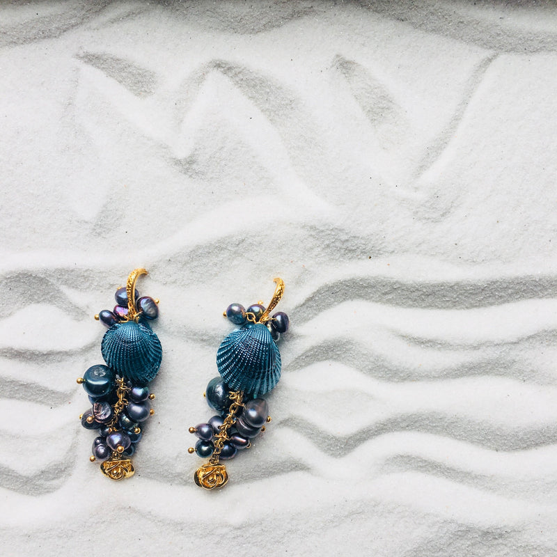 Halcyon & Hadley Martha's Vineyard Cascade Clam Earrings with Freshwater Pearls and Roses - Women's Earrings - Women's Jewelry - Unique Earrings - Statement Earrings