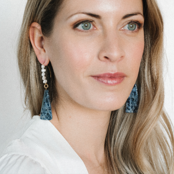 Halcyon & Hadley Inline Statement Earrings with Freshwater Pearls and Faceted Sodalite Columns - Women's Earrings - Women's Jewelry - Unique Earrings - Statement Earrings