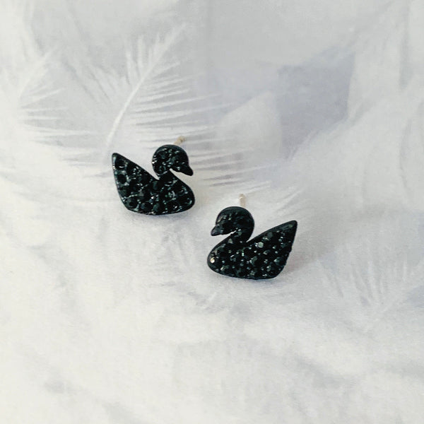 Halcyon & Hadley Black Swan Crystal Studs - Women's Earrings - Women's Jewelry - Unique Earrings - Statement Earrings