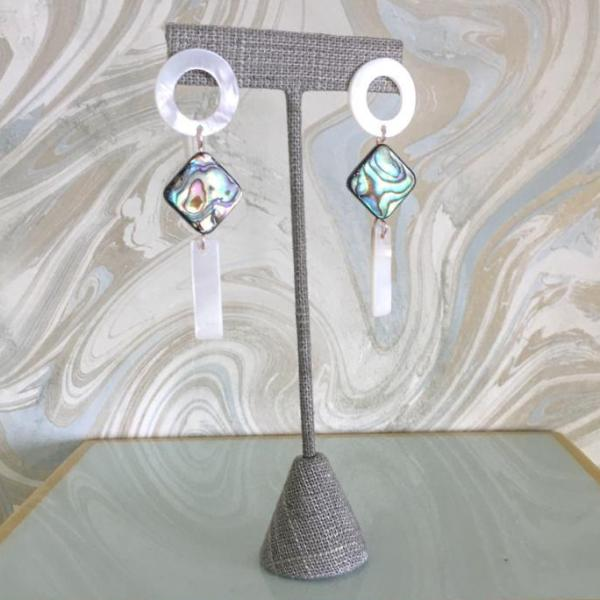 Halcyon & Hadley Abalone and Mother of Pearl Geometric Statement Earrings - Women's Earrings - Women's Jewelry - Unique Earrings - Statement Earrings