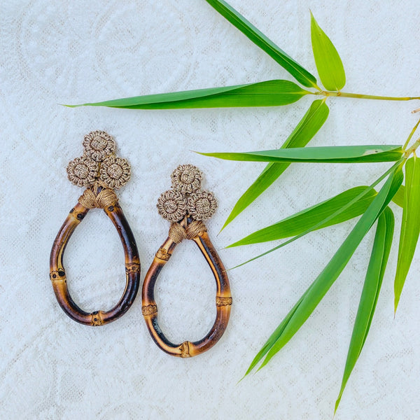 Bamboo and Silk Statement Earrings in Bronze