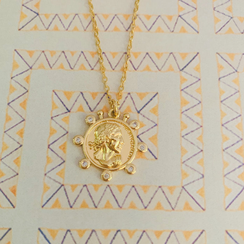Grecian Pave Coin Necklace