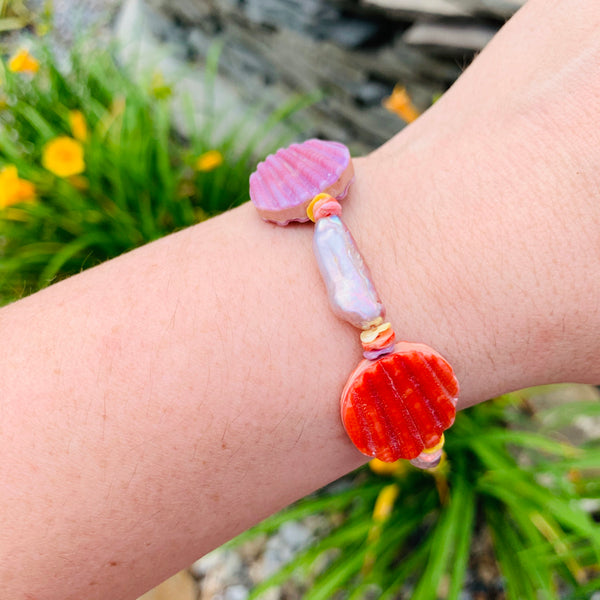 Halcyon & Hadley Cassis Bracelet with Keishi Pearls and Pecten Shells - Women's Earrings - Women's Jewelry - Unique Earrings - Statement Earrings
