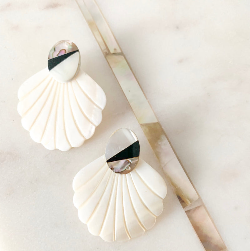 Halcyon & Hadley Point Break Statement Studs with Black Lip Shell and Mother of Pearl - Women's Earrings - Women's Jewelry - Unique Earrings - Statement Earrings