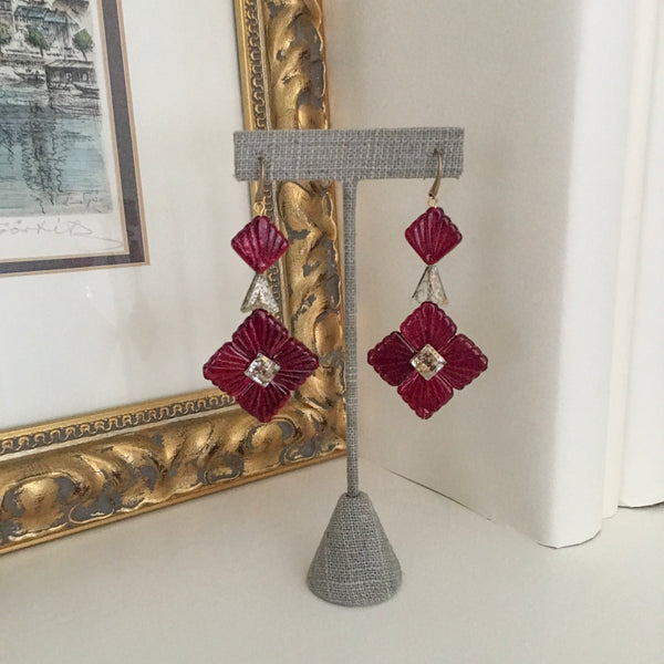 Halcyon & Hadley Swarovski Midnight Statement Earrings in Garnet Red and Gold - Women's Earrings - Women's Jewelry - Unique Earrings - Statement Earrings