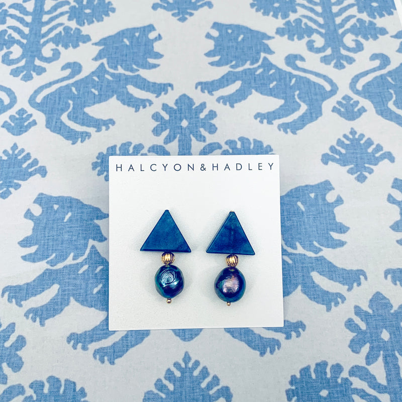 Halcyon & Hadley Triple Threat Statement Studs in Blue Aventurine and Peacock Baroque Pearls - Women's Earrings - Women's Jewelry - Unique Earrings - Statement Earrings