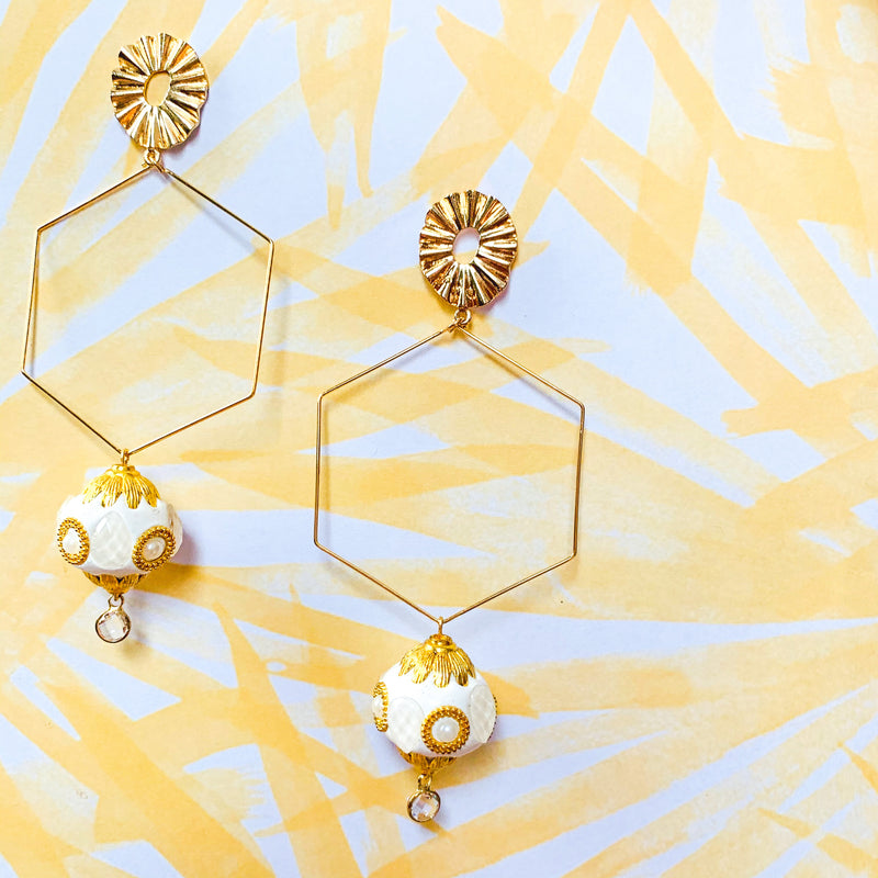 Halcyon & Hadley Ubud Hexagon Earrings - Women's Earrings - Women's Jewelry - Unique Earrings - Statement Earrings