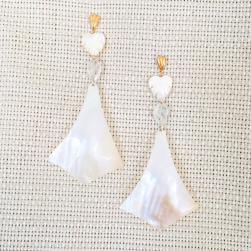 Halcyon & Hadley Queen Palm Statement Earrings with Aquamarine and Mother of Pearl - Women's Earrings - Women's Jewelry - Unique Earrings - Statement Earrings