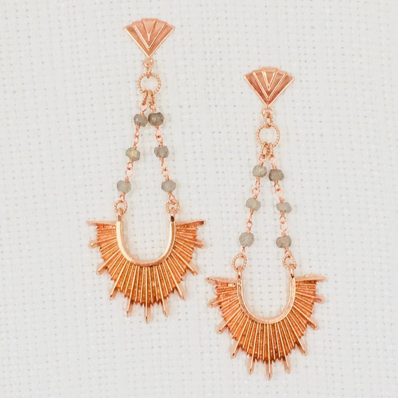 Halcyon & Hadley Paris 1925 Art Deco Sunburst Statement Earrings in Rose Gold and Labradorite - Women's Earrings - Women's Jewelry - Unique Earrings - Statement Earrings