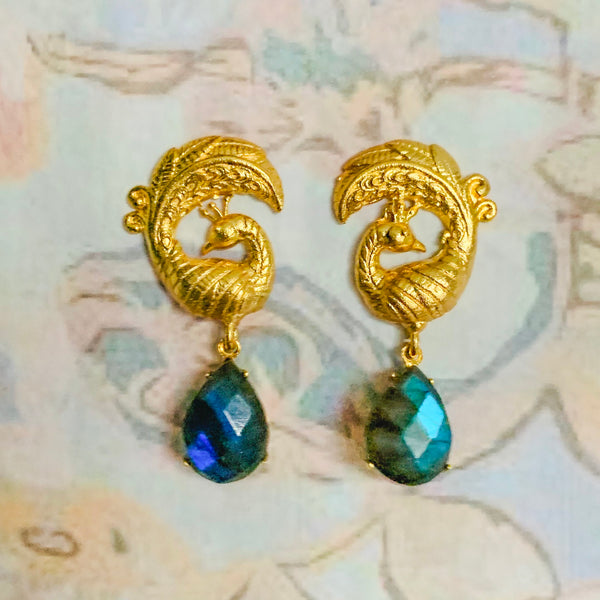 Halcyon & Hadley Golden Peacock Statement Studs with Labradorite - Women's Earrings - Women's Jewelry - Unique Earrings - Statement Earrings