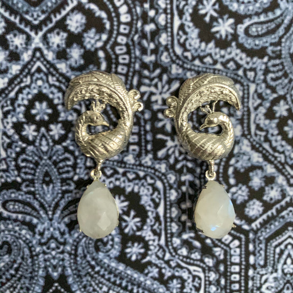 Halcyon & Hadley Silver Peacock Statement Studs with Rainbow Moonstones - Women's Earrings - Women's Jewelry - Unique Earrings - Statement Earrings
