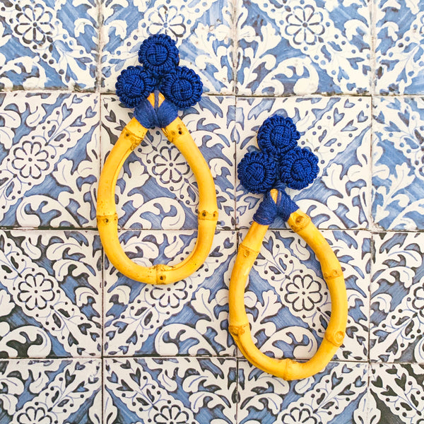 Halcyon & Hadley Bamboo and Silk Statement Earrings in Sapphire Blue - Women's Earrings - Women's Jewelry - Unique Earrings - Statement Earrings